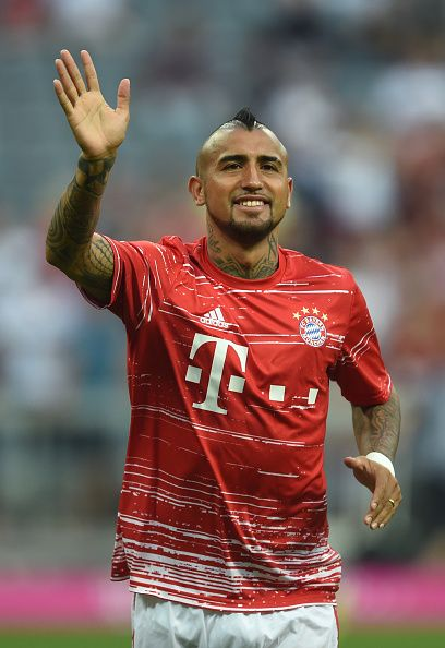Bayern Munich's Chilian midfielder Arturo Vidal reacts ahead of the German first division Bundesliga football match between FC Bayern Munich vs SV...