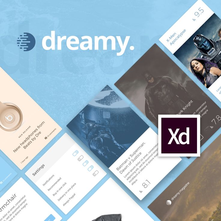 """Check out this @Behance project: """"Dreamy UI Kit for Adobe XD""""…"""