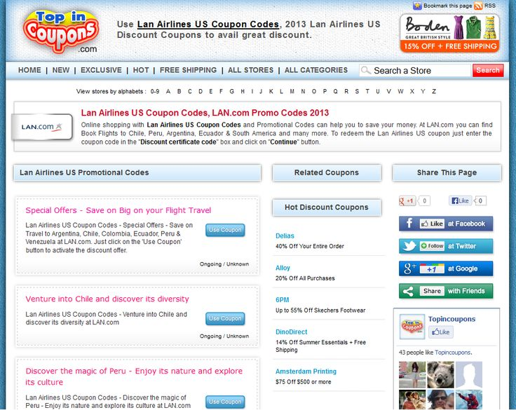 Get FREE Lan Airlines Coupon Codes and Free Shipping Codes! Find and share Lan Airlines Coupons at news4woman.tk Find and share Lan Airlines Coupons .