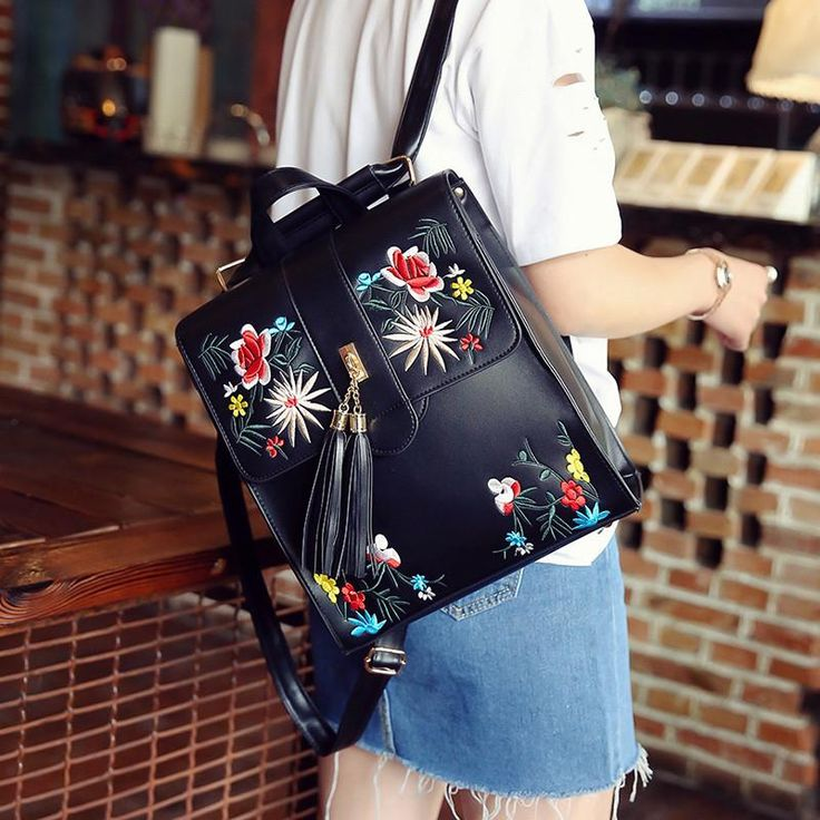 Embroidery Backpack Rebeka 2 colors – Floral Cat