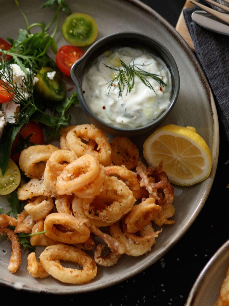fried calamari with tzatziki and greek salad ...