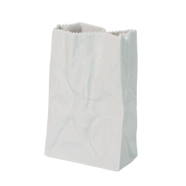 Paperipussi-maljakko 18 cm, valkoinen  __VASE__