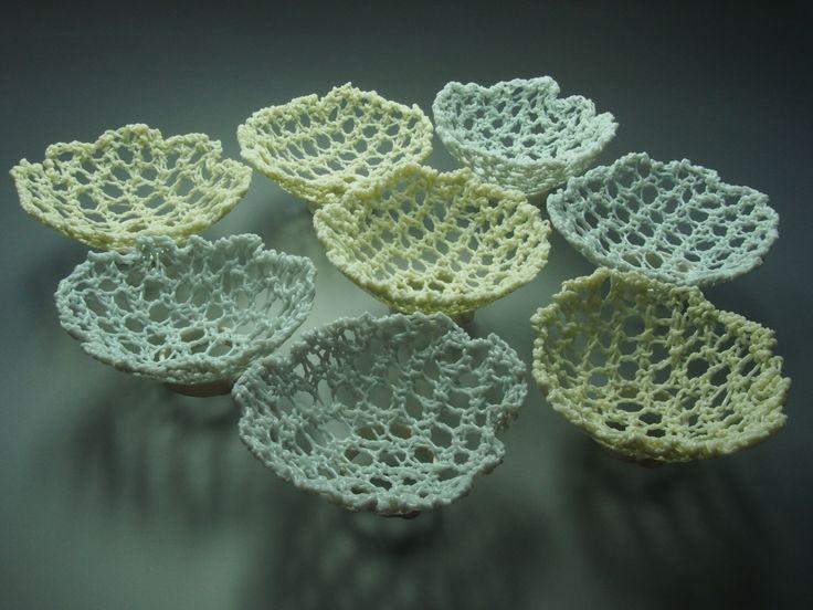 'memory bowls' feldspathic glaze knitting, rare earth colours