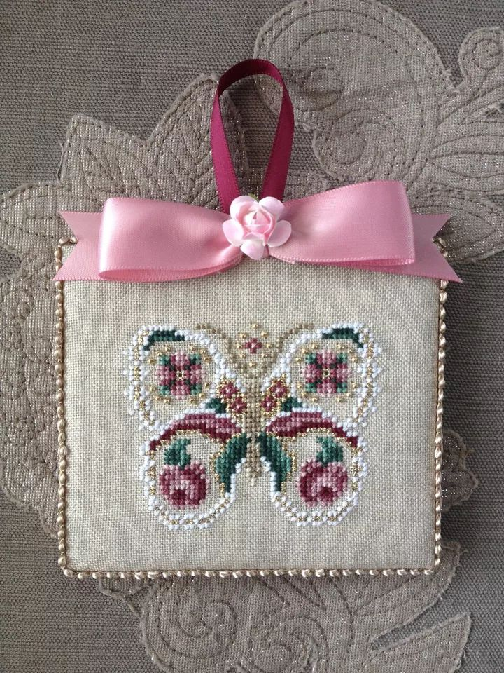 Finished Completed Just Nan Rose Wings Cross Stitch Ornament