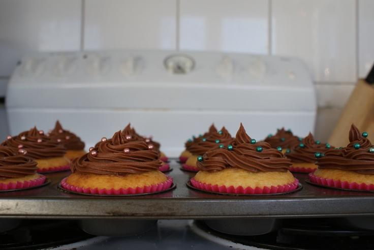 My vanilla cupcakes with dark chocolate butter cream icing.
