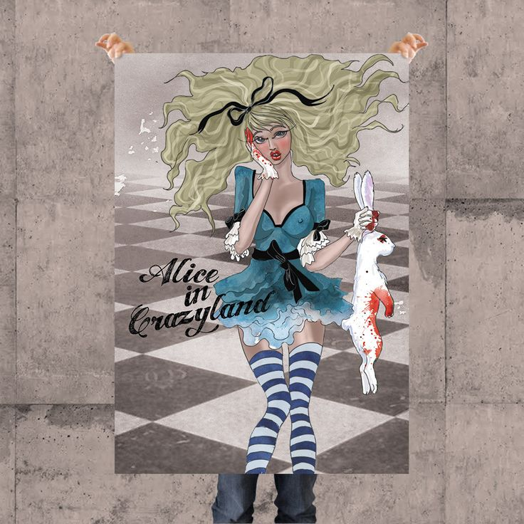 ALICE POSTER BY KSANEEMPIRE FOR MOLEECO CLOTHING Special collection of posters designed by KsanaEmpire specifically for moleeco clothing. Most of the themes of the posters are also available on clothings.  Our posters are printed on high quality paper.