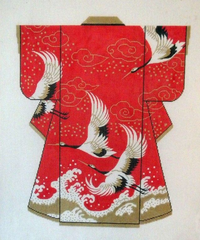 "Exclusive 18 5"" x 15"" Lee Cranes Wedding Kimono Handpainted Needlepoint Canvas 