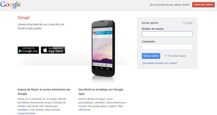 Cuenta de correo Gmail, que permite el uso de aplicaciones como Blogger, Drive, etc...