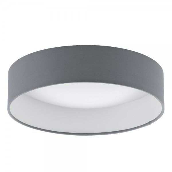 Eglo Lighting Palomaro Single Light LED Small Flush Ceiling Fitting In White Acrylic And Grey Fabric Finish - Eglo Lighting from Castlegate Lights UK