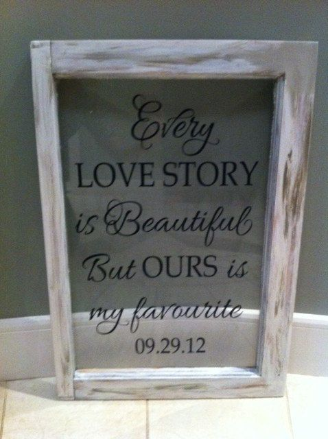 "VINYL ONLY-Romantic Sayings Vinyl - Master bedroom -Wedding- Every love story is beautiful, but ours is my favourite-13"" x 19.25"""
