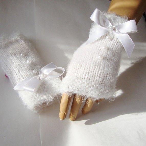 Main tricot gants blancs, Mitten, orné, ruban, Armwarmer, accessoires de vacances, hiver