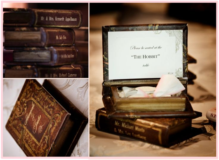 Custom wrapped faux books acted as place cards and favors for this amazing literature-inspired wedding!