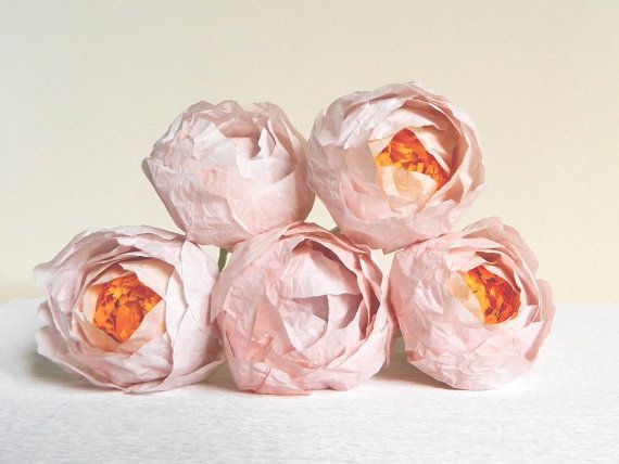 1 piece of pink peony Paper flower peonies by MyrtleAndQuince