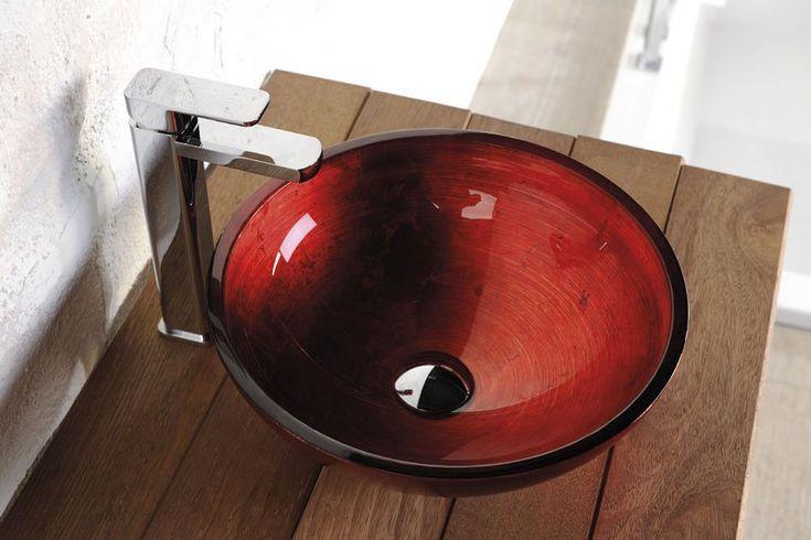 MURANO ROSSO IMPERO skleněné umyvadlo kulaté 40x14 cm, červená, SAPHO E-shop