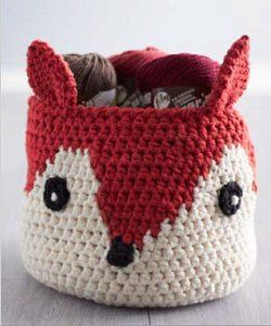 Foxy Yarn Basket - So cute and I'm thinking this could easily be made into many different animals!