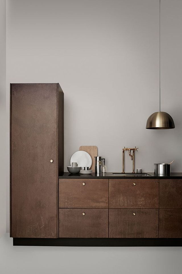 dark wood cabinets with brass hardware via t.d.c. | stelton AW 2016 collection.