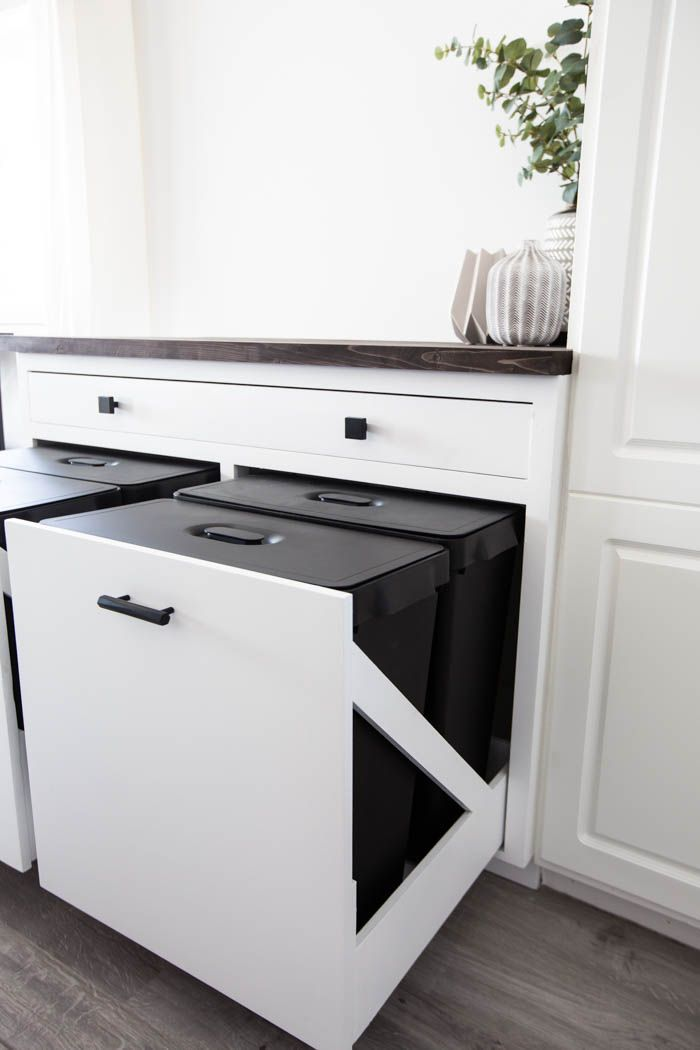 DIY Pull Out Trash Can Cabinet   Trash can cabinet, Hidden ...