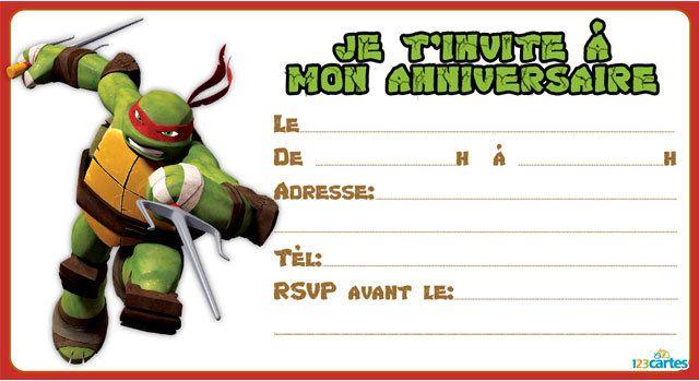 Invitations anniversaire Tortues ninja - 123 cartes