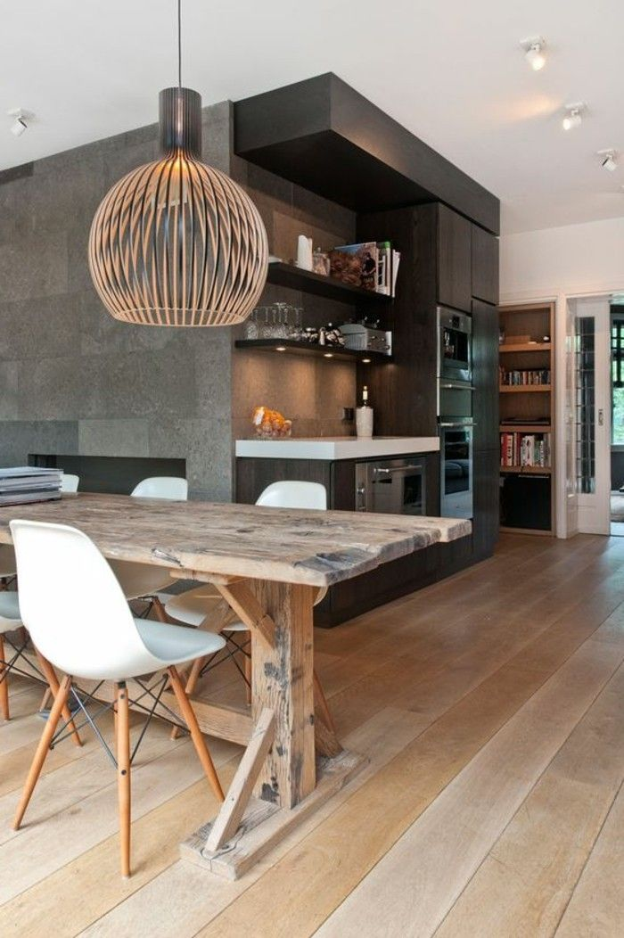 luminaire salle à manger en bois, suspension bambou