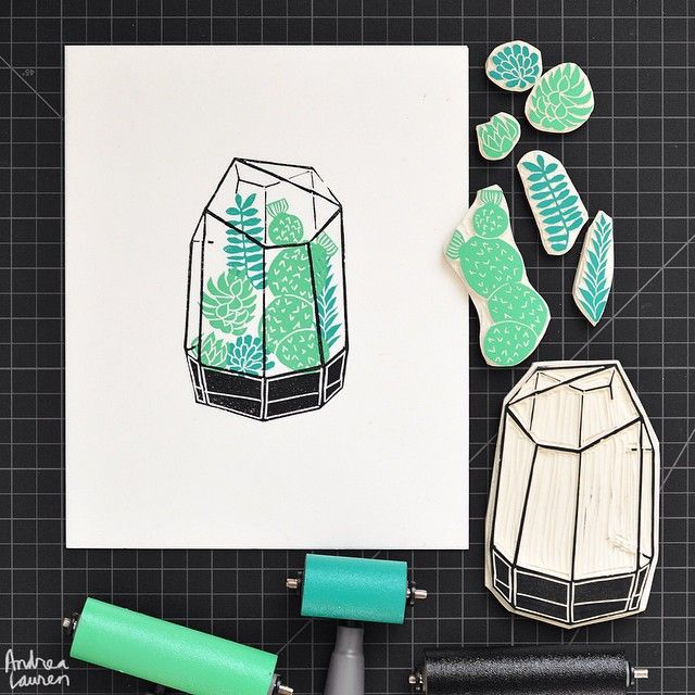 Carving and printing this terrarium with a few leftover block pieces.