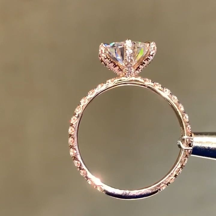 2.50ct.tw Round Moissanite Solitaire Engagement Ring with Micro Pave Set Diamonds – Schmuck