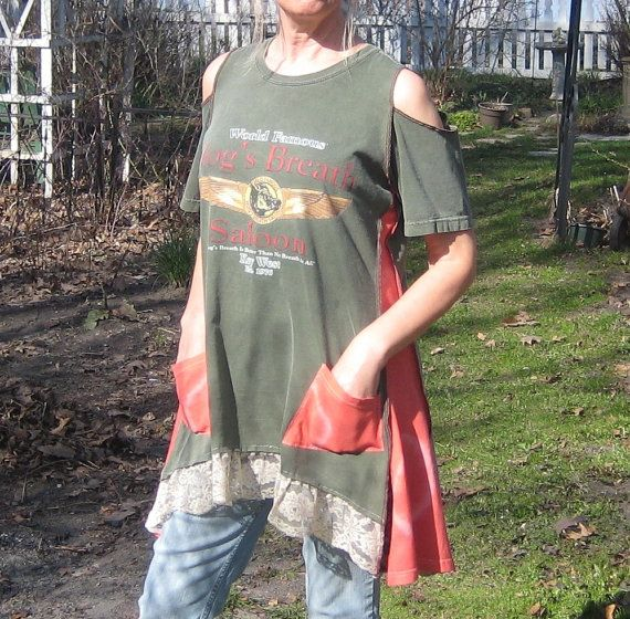 Reserved for Maria, Upcycled Tunic, Upcycled Clothing, T-Shirt Tunic, Open Shoulders, Size L/XL/XXL