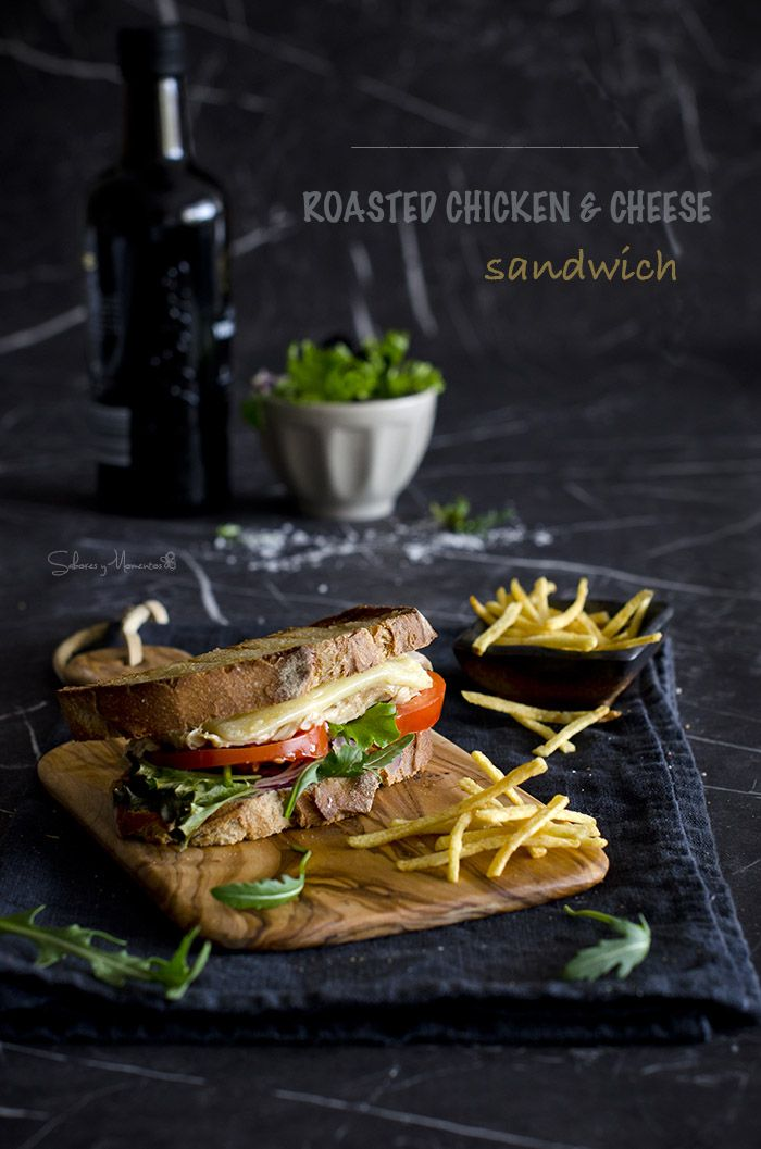 Sandwich de pollo asado y quesos {Receta para cena fácil} | Roasted chicken and Cheese Sandwich http://saboresymomentos.es
