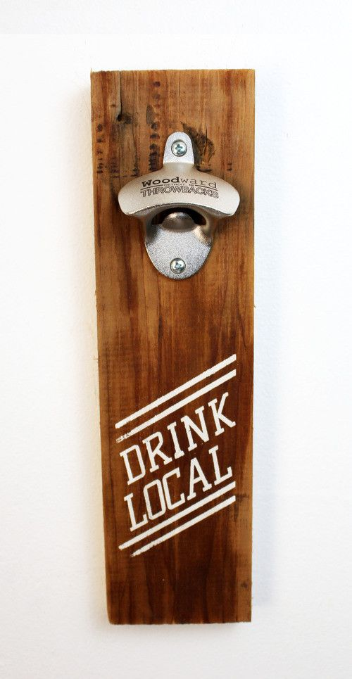 39 drink local 39 reclaimed wood bottle opener mounted for Local reclaimed wood