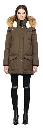 Army warm durable hooded fur hip length cotton nylon fur sheepskin down parka by Paul & Joe. Front zip closure. Five front snap button down storm flap. Removable hood with sheepskin lining. Removable natural fur hood trim with adjustable brace wire. Nylon floral print lining. Thick rib knit...  More details at https://jackets-lovers.bestselleroutlets.com/ladies-coats-jackets-vests/down-parkas/down-down-alternative-down-parkas/product-review-for-mackage-womens-sabra-paul