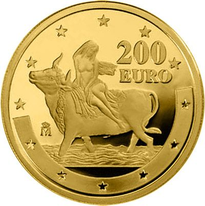 N♡T.200 euro: First anniversary of the euro.Country: Spain Mintage year: 2003 Face value: 200 euro Diameter: 30.00 mm Weight: 13.50 g Alloy: Gold Quality: Proof Mintage: 20,000 pc proof