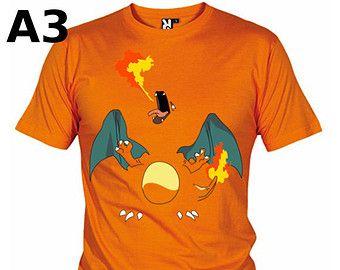 """T-shirt Orange pour Homme (différentes tailles disponibles), logo """"Dracaufeu"""" - Format d'impression au choix: A3 ou A4"""