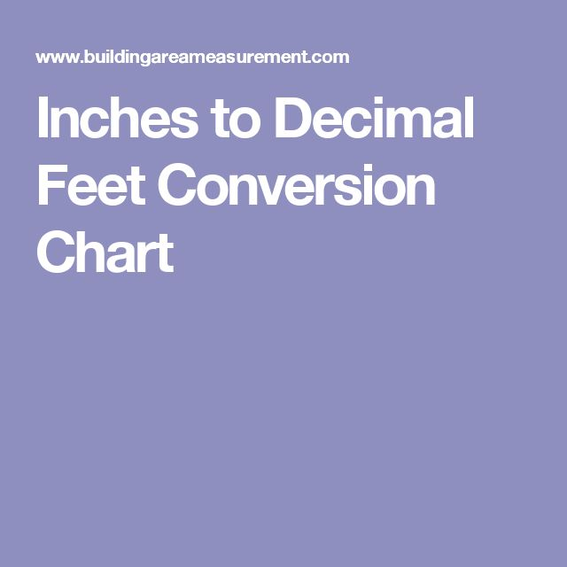 Inches To Decimal Feet Conversion Chart