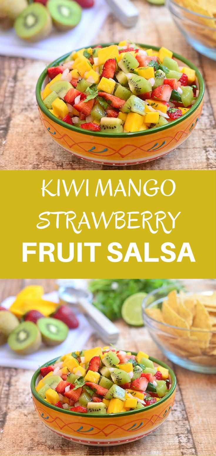 Kiwi Mango and Strawberry Salsa made of kiwi, mango, and strawberries with tangy lime dressing. With bright, fresh flavors, it's amazing with cinnamon chips or over grilled fish and seafood.