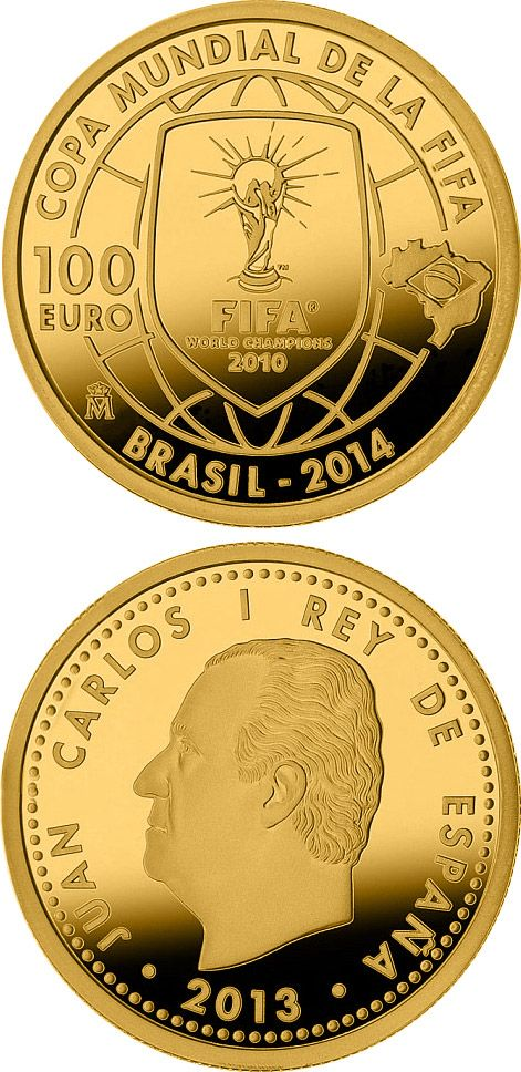 N♡T.100 euro: 2014 FIFA World Cup Brazil.Country:	Spain  Mintage year:	2013 Face value:	100 euro Diameter:	23.00 mm Weight:	6.75 g Alloy:	Gold Quality:	Proof Mintage:	112 pc 4,000 pc proof