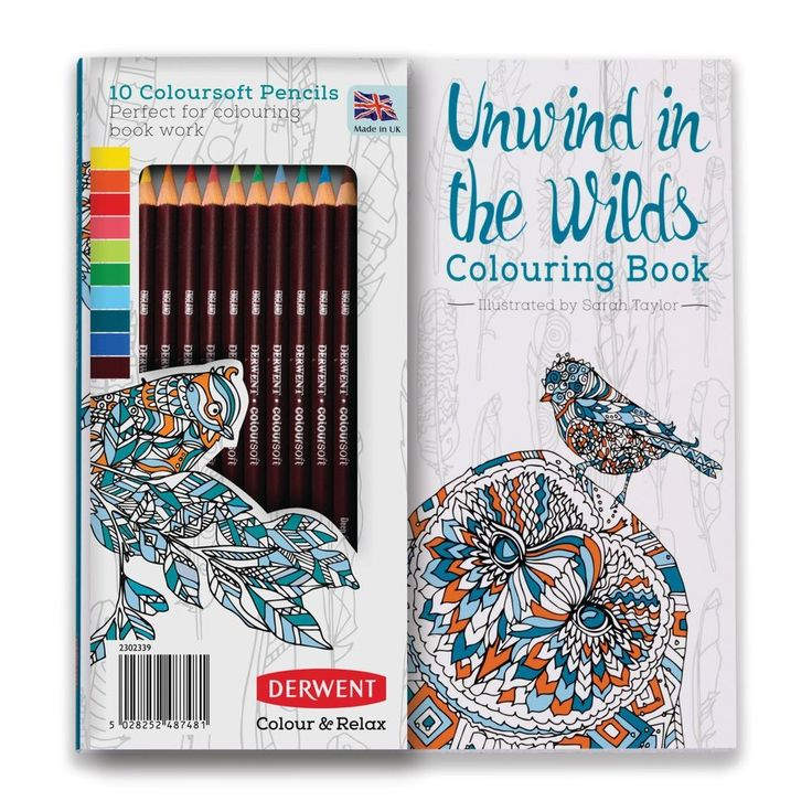 Derwent Unwind In The Wilds Colouring Book 10 Coloursoft Pencils Adult