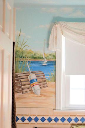 Murals, MacMurray Designs MacMurray Murals Renee MacMurray Boston Mural  House Portraits HANOVER, MA Bathroom