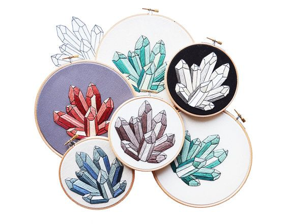 I have a touch of March Mineral Madness. Im coping by sharing this DIY Embroidery Pattern with you!  This PDF pattern for these crazy crystals is