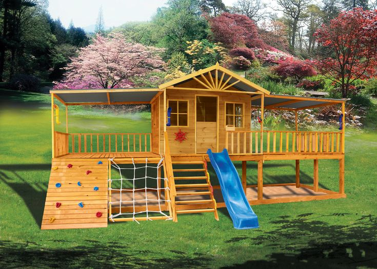 Sandlewood - The Sandlewood elevated cubby house is every kid's dream with a slide, climbing wall, climbing net, enclosed play house, and two elevated porches looking out over the yard.