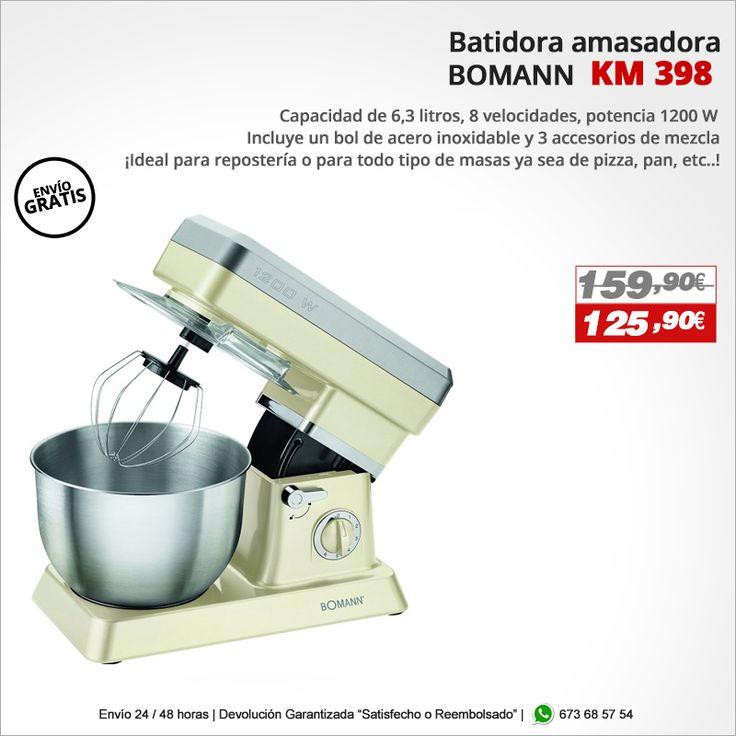 ¡Ideal para repostería o para todo tipo de masas ya sea de pizza, pan, etc..! Batidora Amasadora BOMANN KM 398  http://www.electroactiva.com/bomann-batidora-amasadora-barata-km-398-crema.html #Elmejorprecio #Batidora #Amasadora #Chollo #Electrodomestico #PymesUnidas