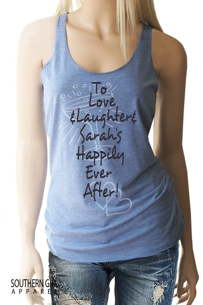 "Bachelorette Party / Wedding Party Personalized ""Happily Ever After"" Racerback Tank"