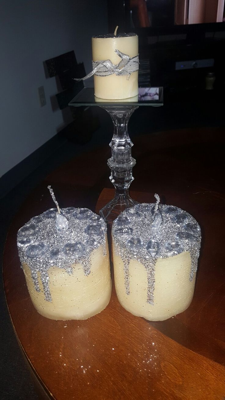 Glittered dripping candle...