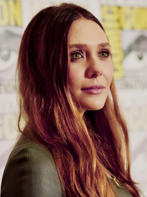 Elizabeth Olsen (Scarlet Witch) at the Marvel panel, San Diego Comic Con, July 26, 2014