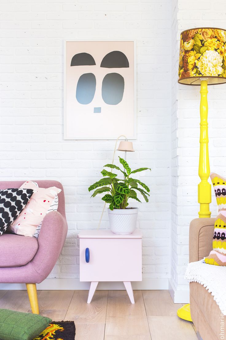Love The Mid Century Modern Inspired Pink Chair And Pastel Table. Has A  Quirky Vibe.