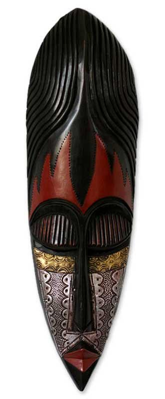 Nigerian wood mask, 'Fulani Maiden' by NOVICA