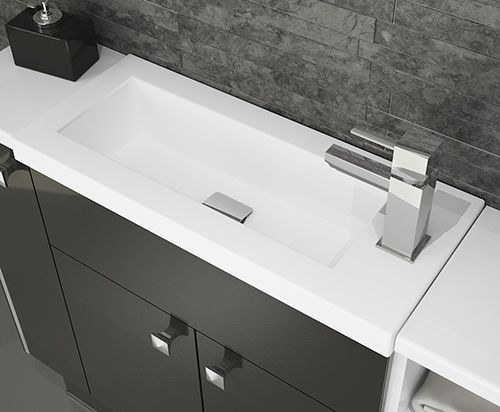 Novara - Slimline Breeze basin. Slimline bathroom furniture is great for providing storage in a family bathroom or turns an unused area into an elegant en-suite or cloakroom.