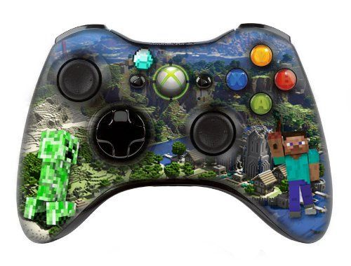 """Xbox controller (modded), """" Minecraft """" skin , Three additional modes (10 Modes Dual Rapid Fire + Fast Aim Mode (quick scope) + Central Button Light) Wireless Original Microsoft controller ,works Best with , COD , BATTLEFIELD , HALO...Contains extra button! 360 MW1.2.3    #modded, #Controller, #Xbox"""