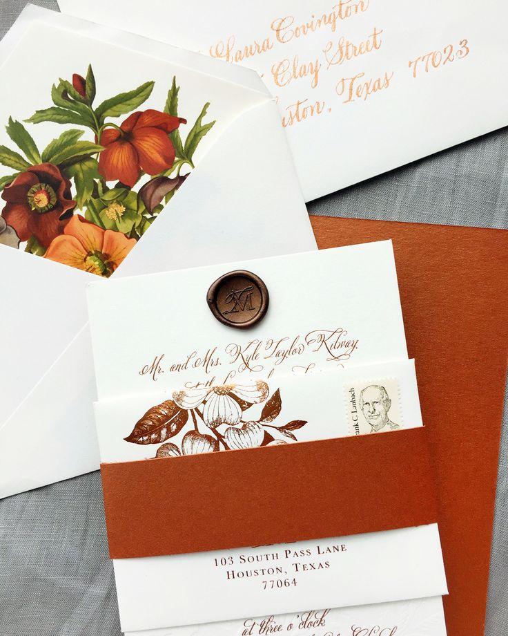 how to address wedding invites%0A Autumn Copper Foil Wedding Invitations by Charm  u     Fig