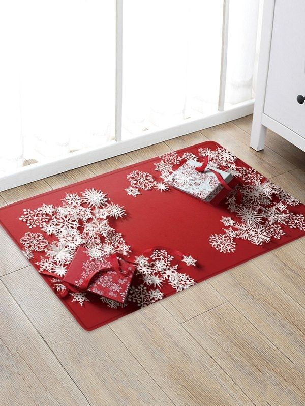 Christmas Present Snowflakes Pattern Area Rug Snowflake Pattern Area Rugs Rugs On Carpet