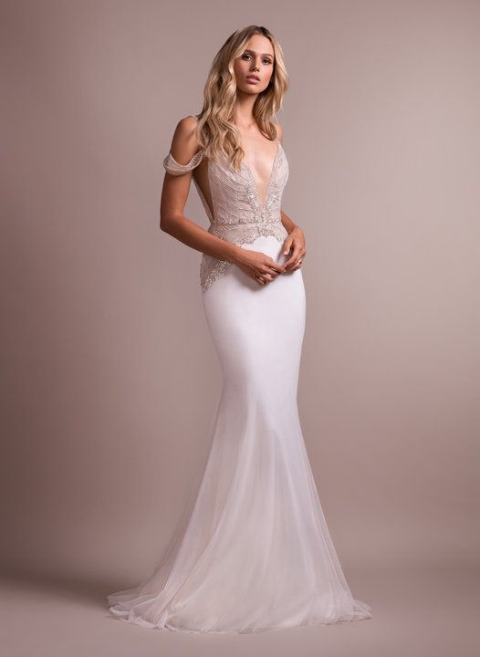 Style 6910 Elton Hayley Paige bridal gown - Ivory beaded off-the-shoulder  fit to flare gown 9fbc16bd0b71