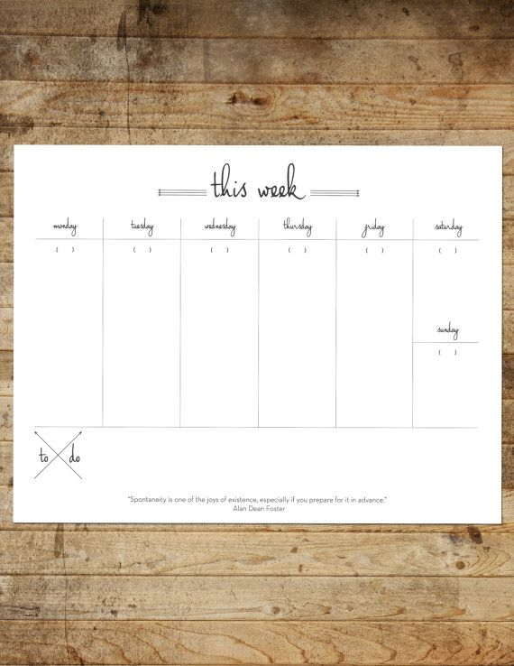 INSTANT DOWNLOAD Printable Weekly Planner by FrameworkPrints